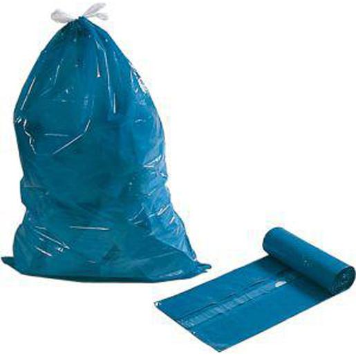 Müllbeutel m. Zugband, 60my, blau,