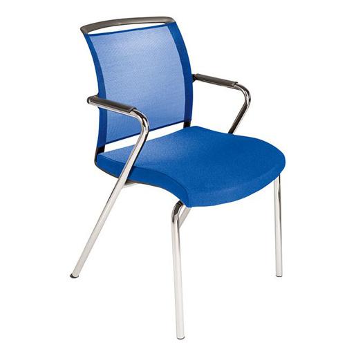 4 Fußstuhl Netzrücken Sitz blau