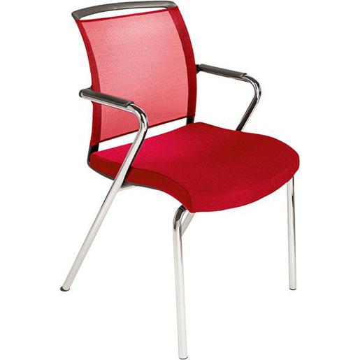 4 Fußstuhl Netzrücken Sitz rot