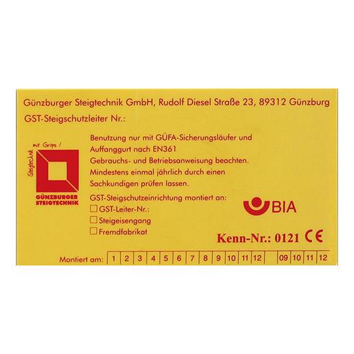 Kennzeichnungsschild für Fallschutzeinr.